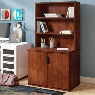 Latitude Run Linh Storage Cabinet with Open Hutch Color: Cherry