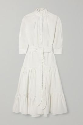 Evi Grintela Phoebe Ruffled Cotton-corduroy Maxi Dress - White