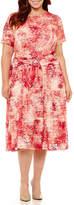 Perceptions Short Sleeve Tie Dye Fit & Flare Dress - Plus