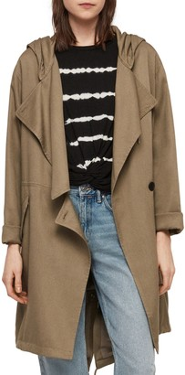 AllSaints Bexley Parker Hooded Draped High/Low Jacket