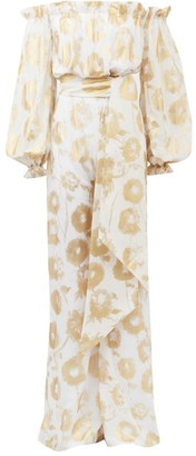 Halpern Metallic-print Off-the-shoulder Cotton Jumpsuit - Womens - White Gold
