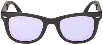 Ray-Ban Black Mirrored Matte Acetate Folding Wayfarer Sunglasses