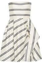 Halston Strapless Striped Satin-Twill Mini Dress