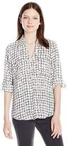 Amy Byer A. Byer Women's Roll Tab Grid Print Button Down Shirt