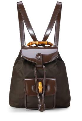 Gucci Brown Nylon & Patent Leather Bamboo Backpack Mini