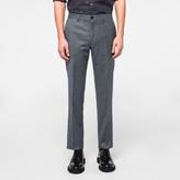 Paul Smith Men's Slim-Fit Grey Marl Wool Flannel Trousers
