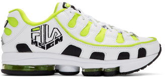 MSGM White and Yellow Fila Edition Silva Trainer Sneakers