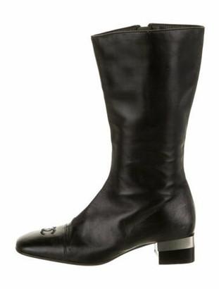 Chanel Interlocking CC Logo Leather Riding Boots Black