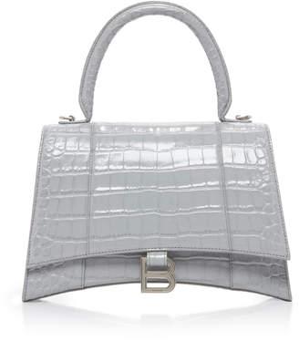 Balenciaga Houglass Croc-Effect Leather Handbag
