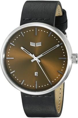 Vestal Unisex RST3L03 Roosevelt Leather Analog Display Quartz Black Watch
