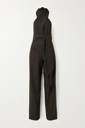 Salvatore Ferragamo Belted Leather-trimmed Wool-twill Halterneck Jumpsuit - Dark brown