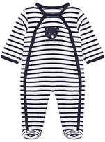 Absorba White and Navy Stripe Velour Babygrow