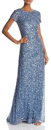 Adrianna Papell Sequined Scoop-Back Gown