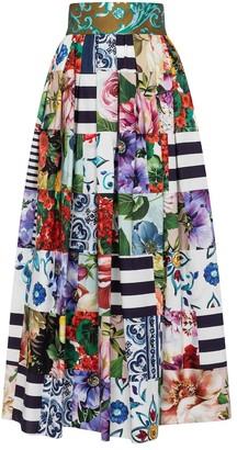 Dolce & Gabbana Printed cotton-blend maxi skirt