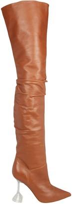 Amina Muaddi Olivia Glass Heel Tall Leather Boots