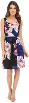 Adrianna Papell Soft Gathered Skirt Rose Print Dress
