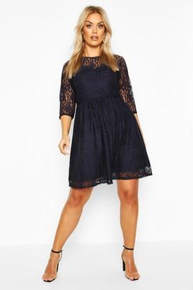 boohoo Plus Lace Smock Dress