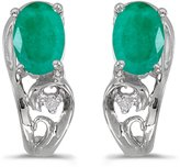 Direct-Jewelry 14k White Gold Oval Emerald And Diamond Earrings