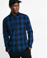 Express plaid snap-up shirt