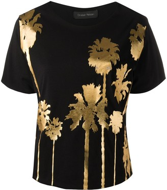 Christian Pellizzari metallic palm print T-shirt