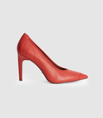 Reiss LOWRI LEATHER POINT TOE COURT SHOES Coral