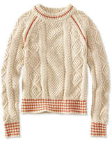 L.L. Bean Signature Cotton Fisherman Sweater, Crewneck Tipped