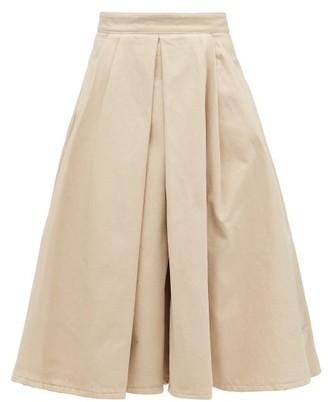 Prada Box-pleated Denim Midi Skirt - Beige
