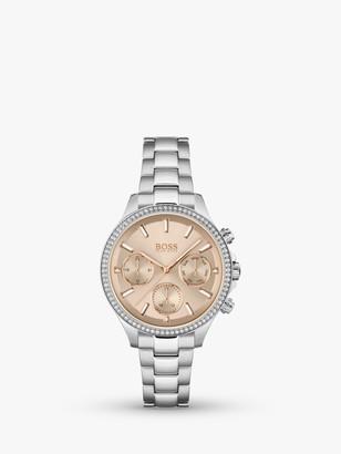HUGO BOSS 1502565 Women's Hera Chronograph Date Bracelet Strap Watch, Silver/Gold