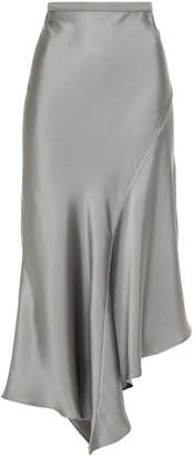 Anine Bing Asymmetric Silk-satin Midi Skirt