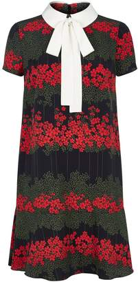 RED Valentino Floral Print Collar Shirt Dress