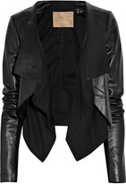 Max Azria Cotton-paneled leather jacket