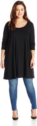 Joan Vass Women's Plus-Size Long Sleeve Scoop Neck Tunic