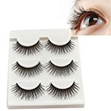 Eyelashes ,Baomabao 3Pairs Black Thick Long Cross False Eyelashes Makeup (Q3D028)