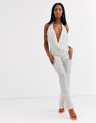 Goddiva embellished deep cowl neck jumpsuit in cream