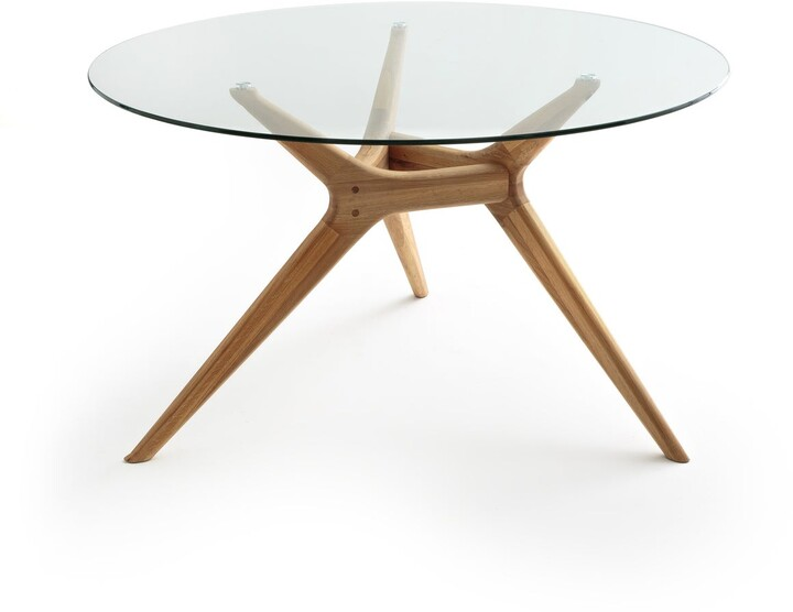 Am.pm. Maricielo Round Glass & Oak Table