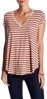 H By Bordeaux Striped V-Neck Tee
