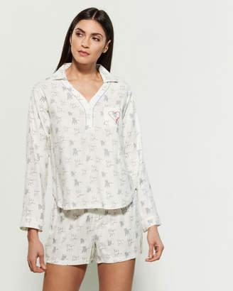 ED Ellen Degeneres Two-Piece Long Sleeve Dog Print Top & Shorts Pajama Set