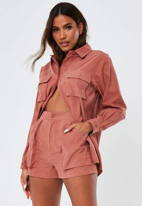 Missguided Rust Co Ord Twill Utility Shorts