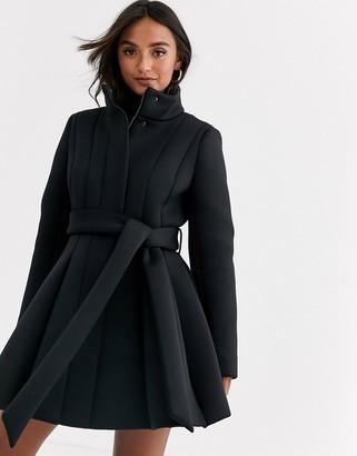 Asos Design DESIGN scuba paneled skater coat in black