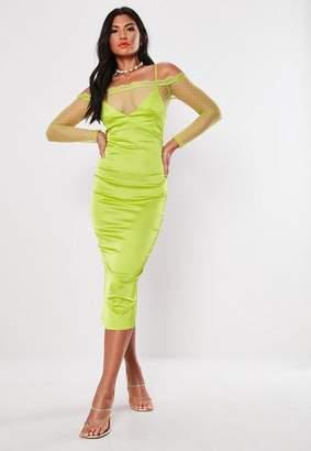Missguided Bardot Lace Bodycon Midi Dress