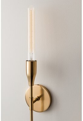 Corrigan Studio Daren 1 Light Dimmable Armed Sconce Finish Aged Brass Shopstyle