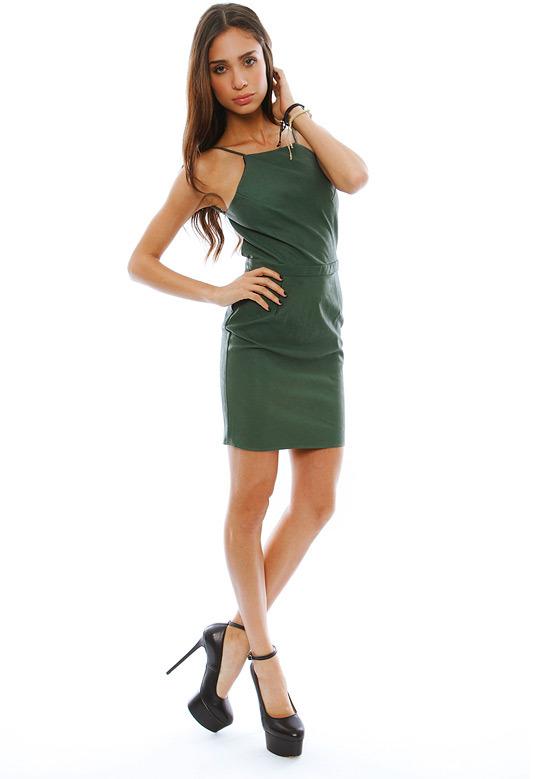 Boulee Gabriella Vegan Leather Dress in Emerald