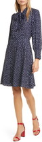 Rebecca Taylor Blurry Heart Print Long Sleeve Silk Dress