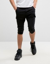 SikSilk Cargo Shorts In Black