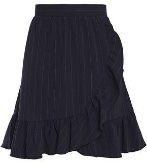 Ganni Wrap-effect Ruffle-trimmed Pinstriped Stretch-crepe Mini Skirt