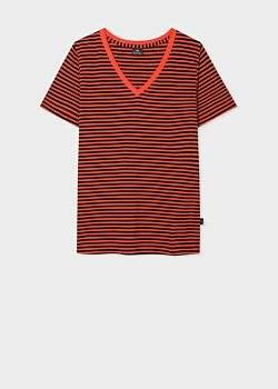 Paul Smith Women's Black And Red Stripe V-Neck Organic-Cotton T-Shirt