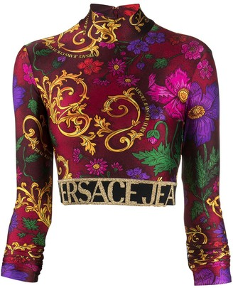 Versace Baroque Print Cropped Blouse