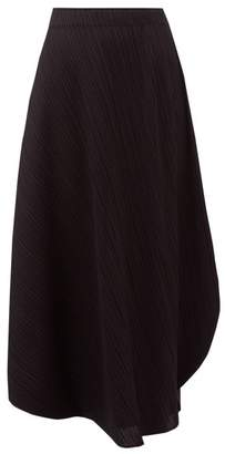 Pleats Please Issey Miyake Curved-hem Pleated Technical Skirt - Womens - Black