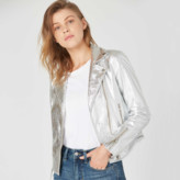 DSTLD Womens Leather Moto Jacket in Silver