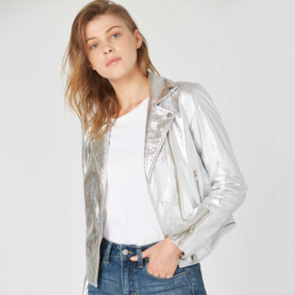 DSTLD Womens Leather Moto Jacket in Silver